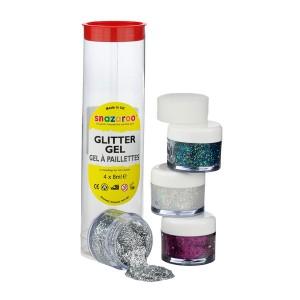 Snazaroo Glitter Gel Tube - Fuchsia Pink, Gold Dust, New Multi, Silver