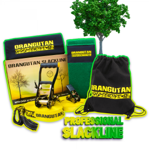 Orangutan Slackline 15m with tree protector and training line
