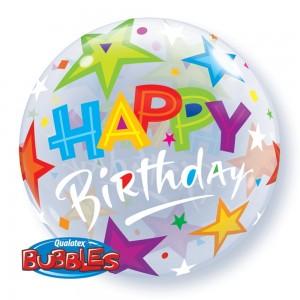 "Qualatex 22"" Bubble Balloons 'Brilliant Stars' Birthday"